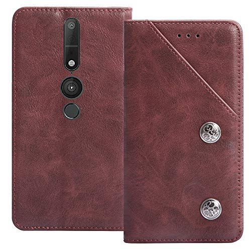 YLYT Flip TPU Silikon Schutz Hülle Hülle Für Lenovo Phab 2 Pro 6.4 inch Etui Rot Leder Tasche Handyhülle Hochwertiges Stoßfeste Kartenfach Cover
