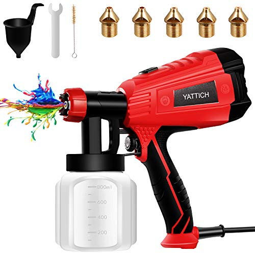 YATTICH Paint Sprayer, High Power HVLP Spray Gun, with 5 Copper Nozzles & 3...