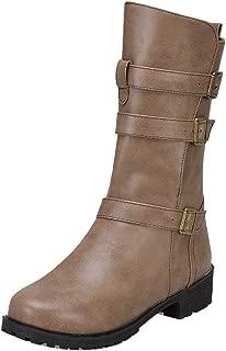 TAOFFEN Women Mid Calf Boots Autumn Low Heels Zipper
