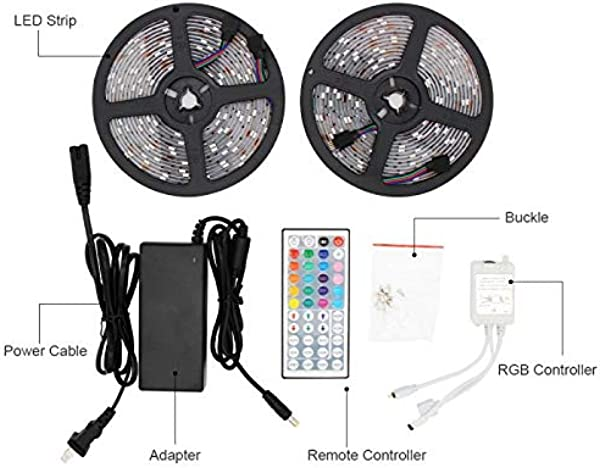 RGB 5050 Led Strip Lights Package LYKK 12V5A 32 8Ft 10M 300leds Waterproof IP65 LED Flexible Color Changing Strip Light Show Kit With 44key RF Remote Controller For TV Background Wall Bedroom Celebr