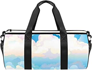 Wolken auf blauem Himmel und türkisem Meer mit Wellen, Reisetasche aus Segeltuch für Fitnessstudio, Sport, Tanz, Reisen, Wochenender