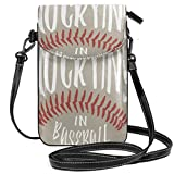 NEPower There's No Crying In Baseball Crossbody Cell Phone Purse-Women PU Leather Handbag With Adjustable Strap