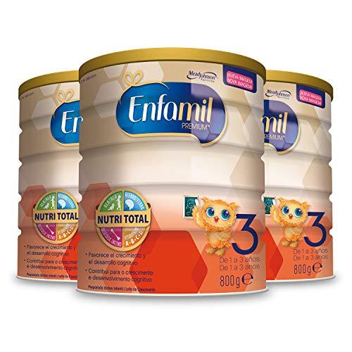 Enfamil Premium 3 - Leche infantil de continuacion para lactantes niños de 1 a 3 años - 800 g | Pack 3 Unidades - Consumo de 1 mes
