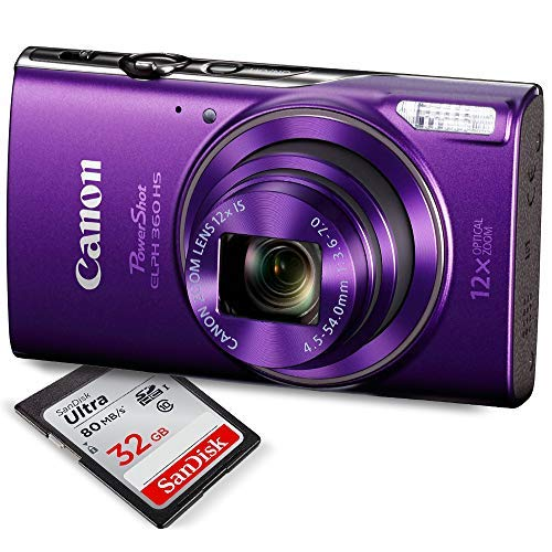 Canon PowerShot ELPH 360 HS (Purple)Digital Camera w/32 GB SD CARD