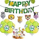 iZoeL Kindergeburtstag Dekoration Dschungel Happy Birthday Girlande 5 Tiere Folienballons 25...