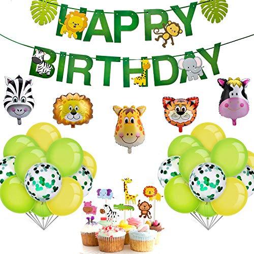 iZoeL Kindergeburtstag Dekoration Dschungel Happy Birthday Girlande 5 Tiere Folienballons 25 Konfetti Luftballons 7 Tortenaufsätze Party Deko