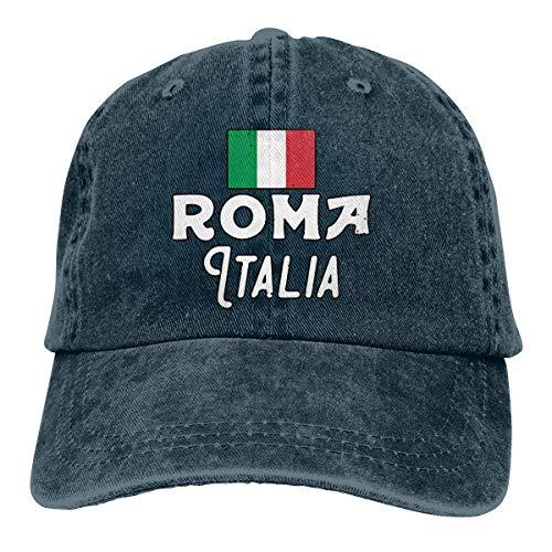 ONGH Männer Frauen Distressed Denim Stoff Baseball Cap Rom Italien Verstellbare Kopfbedeckung