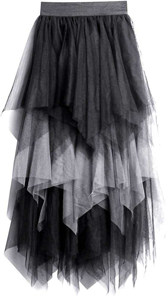 COSMUSE Women's Multi Layer Tulle Steampunk High Low Elastic Waist Skirt