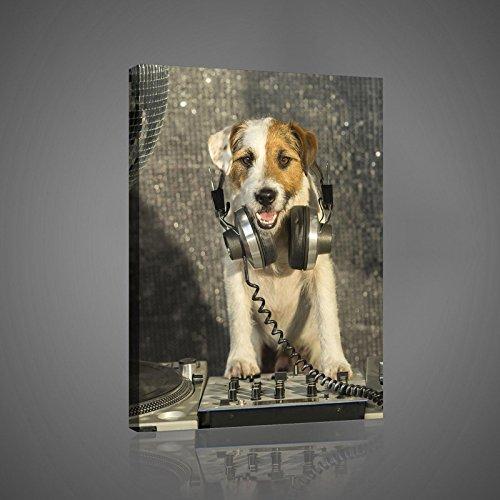 ForWall Bilder Canvas DJ-Disco-Hund mit Kopfhörer - O4 (60cm. x 40cm.) Leinwandbilder Wandbild AMFPP10383O4