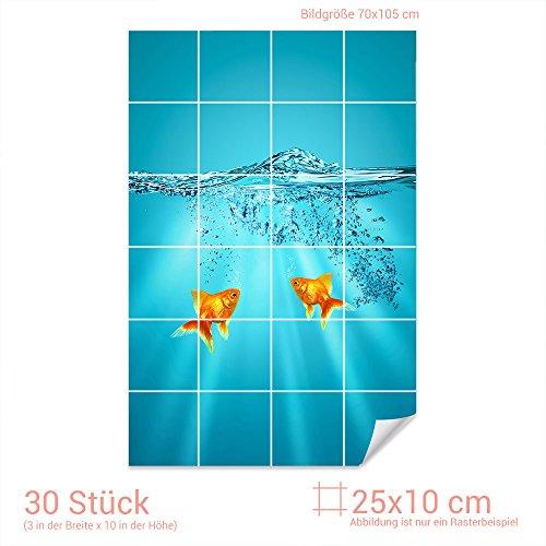 Graz Design 761774 tegelstickers goudvis aquarium voor tegels | badkamertegels met tegelstickers beplakken Fliesenmaß: 25x10cm (BxH) Afbeelding: 70 x 105 cm (b x h).