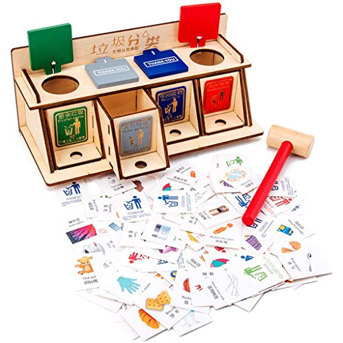 Classification des déchets jouets pour enfants carte de ceinture en bois jouets pour enfants illumination pour enfants petite enfance jeux de société 36 mois ou plus bébé jeu interactif parent-enfan