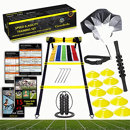 Speed Agility Training Set, Includes Agility Ladder, Jump Rope, Resistance Parachute, 5 Resistance Bands, 10 Cones and Muscle Roller Stick, - Speed Training Equipment for Soccer Football Basketball