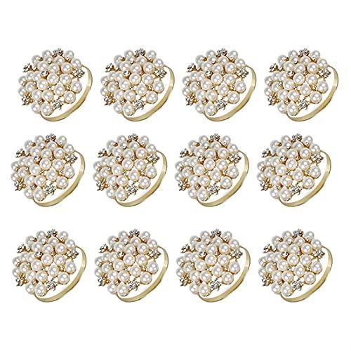 FANJUANMIN 12PACK Pearls Servilletes Anillos de aleación Delicada Titular de la servilleta Anillo Hebillas para la decoración de la Mesa de Ajuste