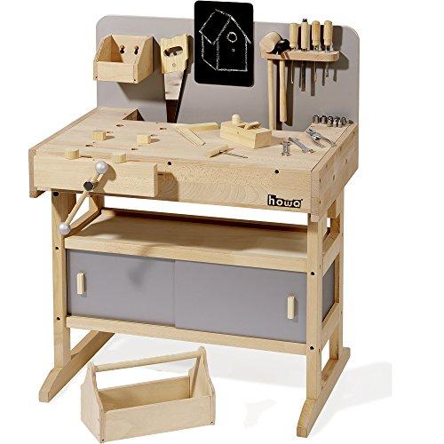 Howa Massive Werkbank Hartholz incl. Werkzeugkiste und 32 TLG. Werkzeug 4900