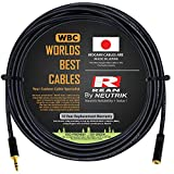 20 Foot - Quad Balanced Headphone Extension Cable Custom Made by WORLDS BEST CABLES – Using Mogami 2893 Wire and Neutrik-Rean NYS231BG Male & NYS240BG Female 3.5mm Gold TRS Plugs