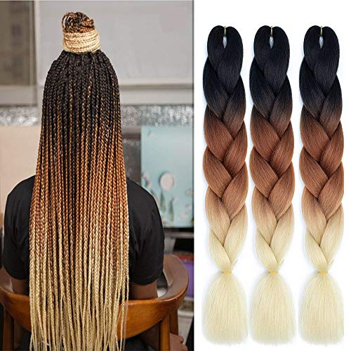 6 Packs Ali Show Hair Jumbo Flechten Hair Extensions Colorful Kunsthaar Kanekalon Haar für Heimwerker Crochet Box Zöpfe Ombré Lila 3 Tone Color 100 g/pcs 60 cm (ombre light brown)