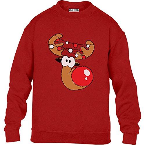 Green Turtle T-Shirts Kinder Geschenke Rudolph Girlande Weihnachts Pullover Sweatshirt S 122/128 Rot