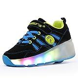 Meurry Niños Unisex LED Luz Parpadea Ruedas Zapatillas Auto-párrafo Roller Zapatos Patines Deportes Zapatos Correr Para Niños Navidad Halloween Regalo, Azul-3, 35 EU
