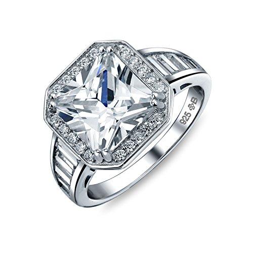 Bling Jewelry Estilo Art Deco 5Ct AAA CZ Baguette Halo Plaza Marquesa Promesa Anillo De Compromiso para Mujer Plata De Ley 925
