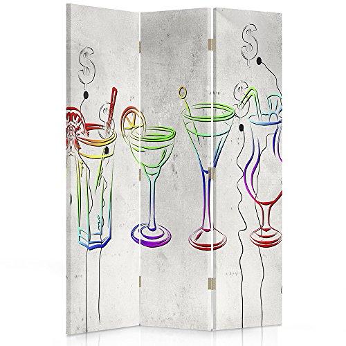 Feeby Frames. Raumteiler, Gedruckten aufCanvas, Leinwand Wandschirme, dekorative Trennwand, Paravent beidseitig, 3 teilig, 360° (110x180 cm), Glas, MULTIFARBE, MODERN, DOLLARSYMBOL,