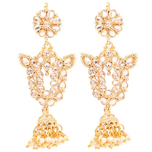 Touchstone'Contemporary Kundan Collection' Traditional Magical Mughal Kundan Polki Look Fine Thin Wire Work Pretty White Faux Pearls Hangings Chandelier Earrings In Gold Tone For Women