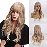 BOGSEA Blonde Wig with Bangs Long Wavy Wigs for Women Long Wave Synthetic Hair Heat Resistant Natural Looking Wig for Daily Use Cosplay(Ash Blonde)