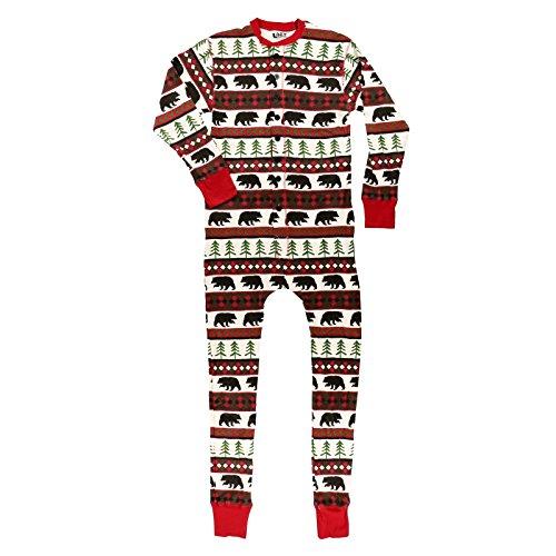 LazyOne Flapjack, Matching One-Piece Pajamas with Drop Seat, Adult XS–XXL (Bear Fair Isle, Medium)