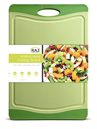 "Raj Plastic Cutting Board Reversible Cutting board, Dishwasher Safe, Chopping Boards, Juice Groove, Large Handle, Non-Slip, BPA Free (Extra Large (17.4"" x 11.81""), Lime Green)"