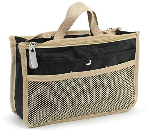 "Hoxis Purse Organizer Insert Handbag Organzier Bag in Bag 10.6"" X 6.3""(Black)"