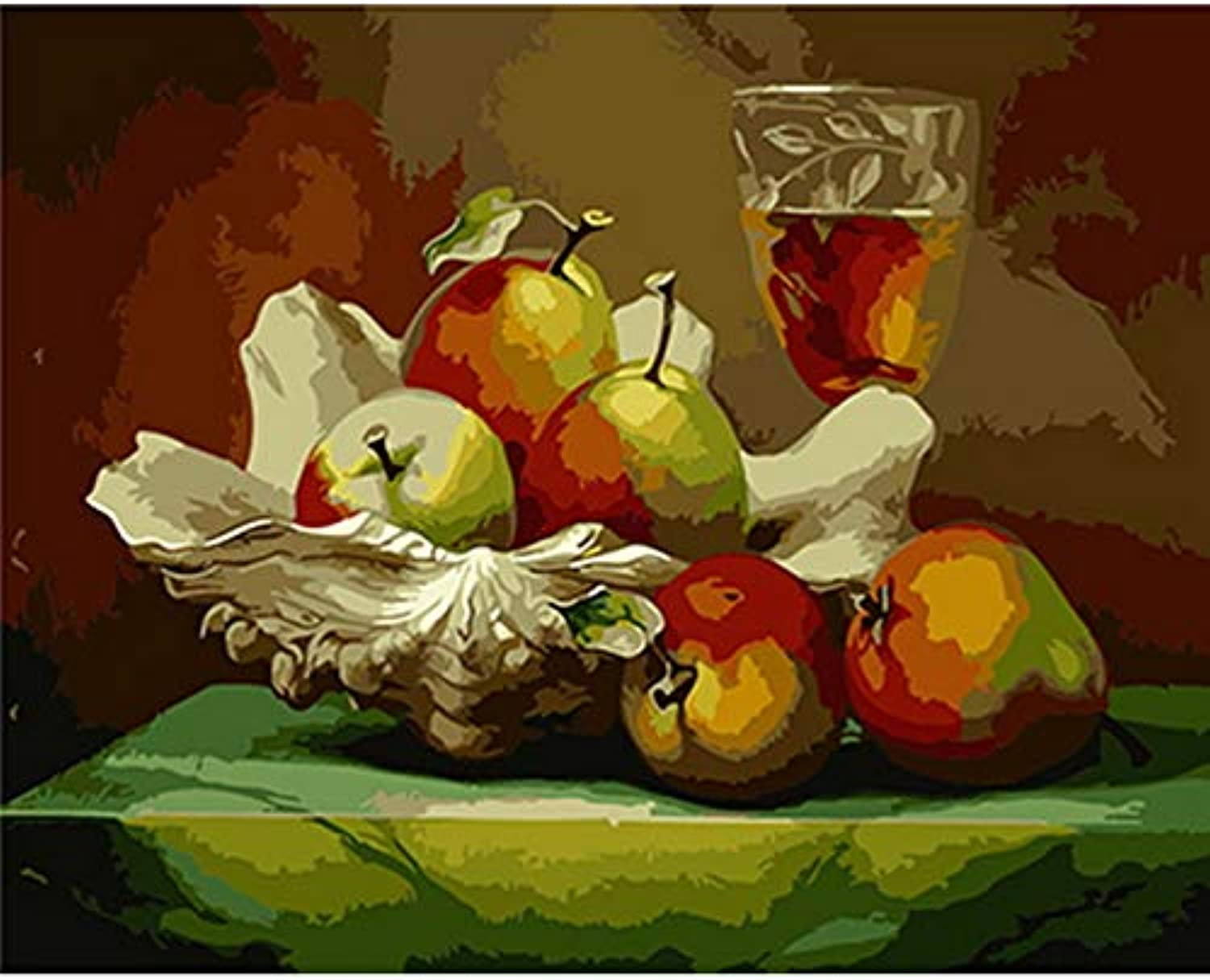CAYYOU DIY painting by numbers paint by number for home decor for living room still life fruit, Framed, 50x60cm