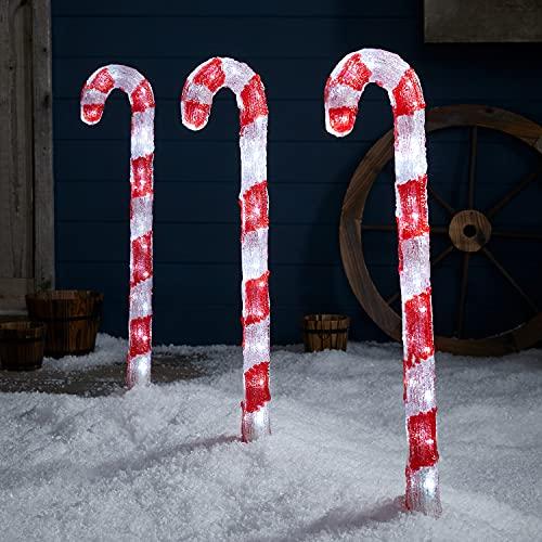 Lights4fun Set di 3 Bastoncini di Zucchero di Natale Luminosi con LED Bianchi per Arredo Esterni