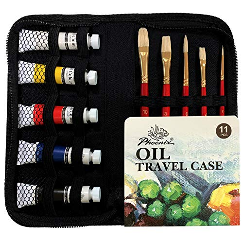 PHOENIX Oil Paint Set with Zip Carry Case - Paint and Brush Set Travel Pack with 5 Bristle Brushes & 5 Tubes of Oil Paints