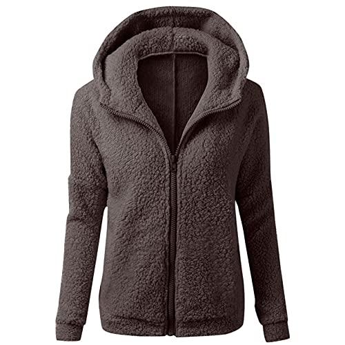 Sudadera con capucha para mujer Fluffy Fuzzy, para otoño e invierno, forro polar, con cremallera, de entretiempo, de manga larga, monocolor, informal, marrón, XL
