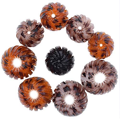 Accesorio De Pelo Con Clip QSXX 9 PCS Soporte De Cola De Caballo Se utiliza para hacer todo tipo de peinados, cabezas de flores, Peinados, Forma de Nido de Pájaro con Incrustaciones de Cristal