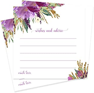 Purple Floral Advice and Wishes - Wedding, Baby, Party - Pack of 25