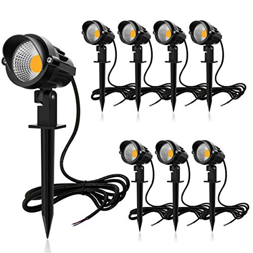 MEIKEE 7W LED Landscape Lights Pathway Lights Low Voltage Spotlights LED Landscape Lights Warm White IP66 Waterproof for Driveway, Yard, Lawn, Patio, Outdoor Garden Lights (8 Pack)
