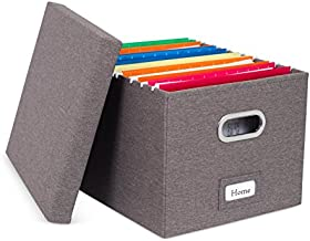 Internet's Best Collapsible File Box Storage Organizer with Lid - Decorative Linen Filing & Storage Office Boxes – Hanging Letter/Legal Folder – Home Office Bins Cabinet – Grey Container - 1 Pack