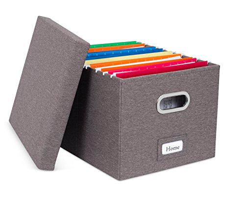 Internet's Best Collapsible File Storage Organizer with Lid - Decorative Linen Filing & Storage Office Box – Hanging Letter/Legal Folder – Home Office Bins Cabinet – Grey Container - 1 Pack