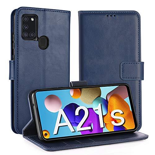 Simpeak Hülle Kompatibel mit Samsung Galaxy A21s [6,5 Zoll], Handyhülle Kompatibel für Samsung A21s Leder Flipcase [Kartensteckplätze] [Stand Feature] [Magnetic Closure Snap] - Blau