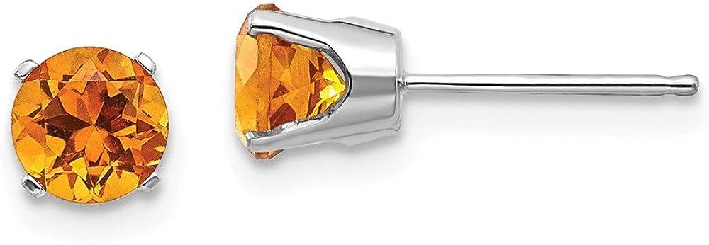Solid 14k White Gold 5mm Citrine Yellow November Gemstone Stud Earrings 5mm