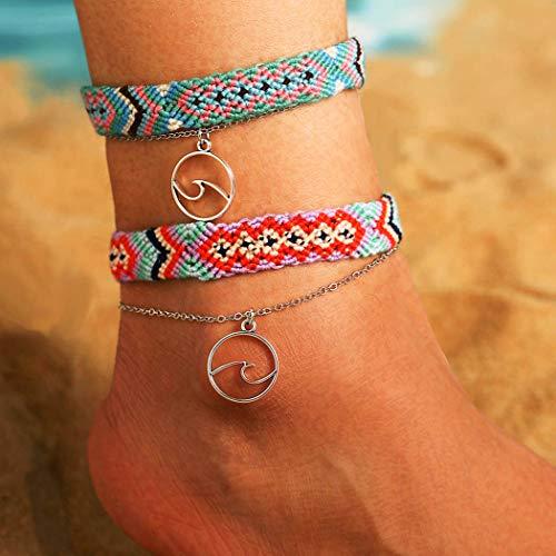 Sethain Boho Pendentif Bracelet Argent Couches Bracelets de cheville Mutilayered Bijoux de pied Bohème Chaînes de pieds pour les femmes et les filles