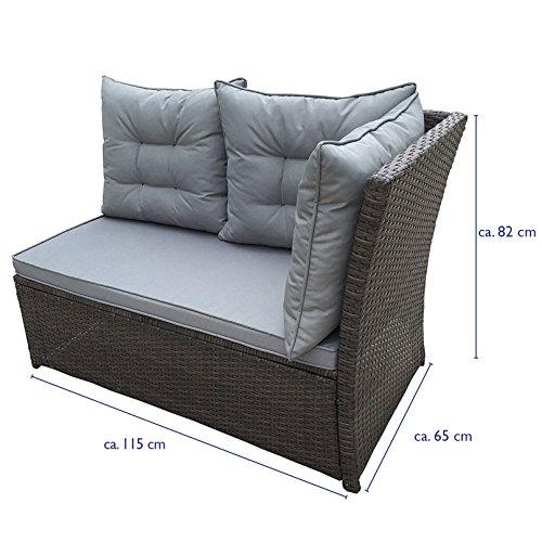 SVITA Monroe Polyrattan Ecksofa Rattan-Lounge Esstisch Gartenmöbel-Set Sofa Garnitur Couch-Eck (Lounge Set, Schwarz) - 7