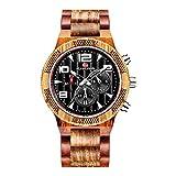 HUA-Watch Nuevo Reloj De Cuarzo para Hombres, Relojes Deportivos De Sándalo Luminosos Multifunción, Relojes De Madera con Esfera Grande Sándalo Rojo