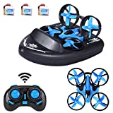 Rigel7 JJRC H36F 6-Axis RC Drone Headless Mode 3-in-1 Sea Land Air Mode Switchable Waterproof Hovercraft Detachable RC Quadcopter RTF H36 Upgraded Toys (3 Battery + 12PCS Extra Propeller)