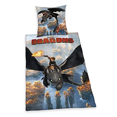 Beddengoed glad Dragons DreamWorks Zipper Fotodruk 135 x 200 cm Gift NIEUW Wow - All-In-One Outlet-24 -