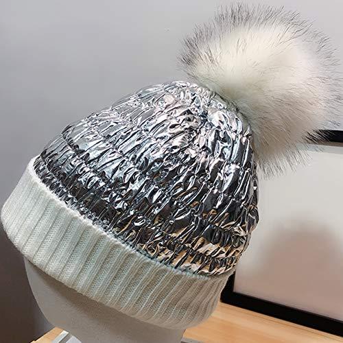 SUNSKYOO Gorra de punto metálico brillante, sombrero de...