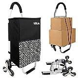 Carro de la compra 2 en 1, plegable, 45 L, bolsa extraíble, color negro, carrito de mano con ruedas, cesta de la compra, ayuda para la compra, multifuncional para alimentos, picnics