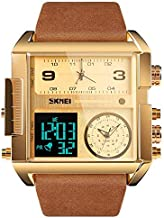 Men's Square Large Face Digital Sports Watch, LED Analog Quartz Wrist Watch with Multi-Time Zone 50M Waterproof Stopwatch (Gold Brown)