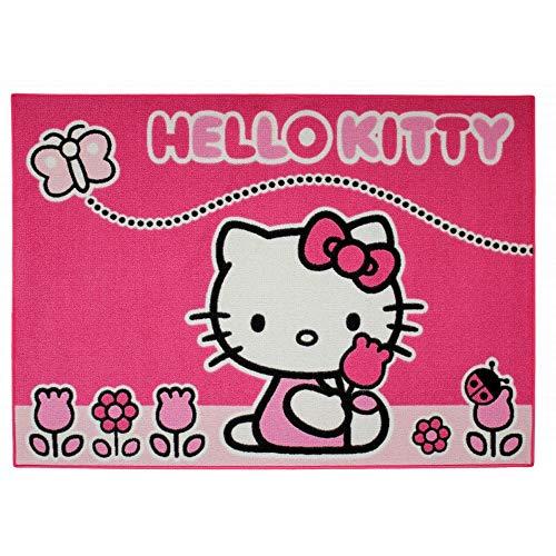 GUIZMAX Compatible avec Tapis Enfant Hello Kitty 133 x 95 cm Papillon