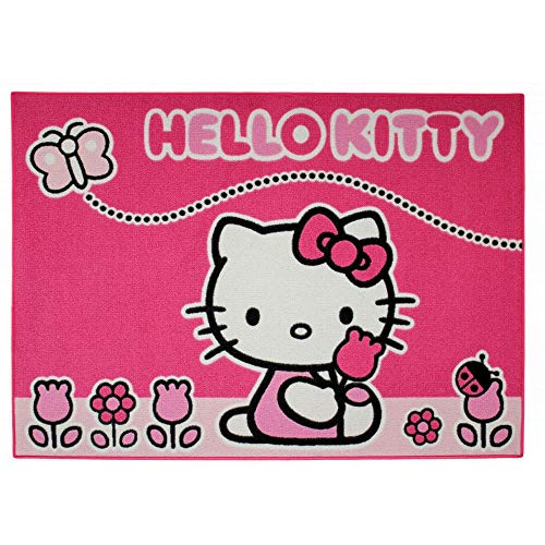 GUIZMAX Tapis Enfant Hello Kitty 133 x 95 cm Papillon